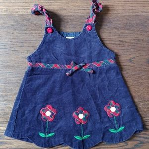 Vintage baby navy corduroy dress with floral patch